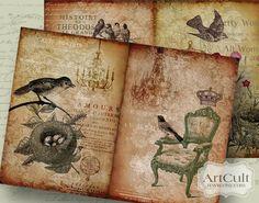Digital Collage Sheet AGED STORYBOARD No3 Printable Designed Backgrounds for scrapbooking paper craft journaling decoupage ArtCult designs