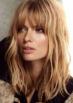 Fringe girl hair blonde