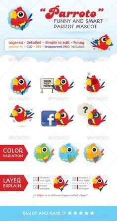 Parroto  Web Parrot Mascot — Photoshop PSD #mascot #media • Available here → https://graphicriver.net/item/parroto-web-parrot-mascot/4639565?ref=pxcr