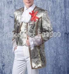 silver grey mens period medieval Renaissance costume performance /Prince charming fairy tale William /civil war/ Belle stage