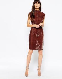 Image 4 ofReiss Velour Dress in Mocca Velvet
