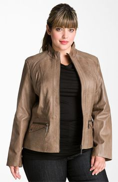 Bernardo Topstitch Leather Scuba Jacket (Plus) available at #Nordstrom