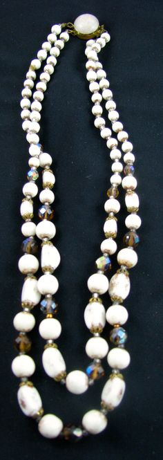 Cream glass beads with brushed gold and gold crystals - lovely clasp