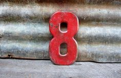 Vintage Metal Chippy Number 8 Sign Eight Red by TheOldTimeJunkShop, $25.00