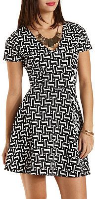 $20, Black and White Print Skater Dress: Geometric Print Skater Dress by Charlotte Russe. Sold by Charlotte Russe. Click for more info: http://lookastic.com/women/shop_items/145549/redirect