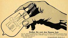 1913 Ad Light Bulb Osram Electricity Berlin Germany Lighting Electric Hand Model - Original Print Ad -