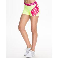 "Nike Pro 3"" Logo Short (30 CAD) ❤ liked on Polyvore featuring activewear, activewear shorts, shorts, sports fashion, volt, womens-fashion, nike activewear, nike sportswear, logo sportswear and nike"