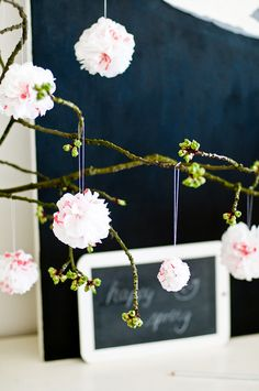 Tissue paper pom-poms: since I decorate with real branches this is SO cute!!