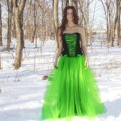 Image detail for -Green Formal Prom Wedding Long Tulle Skirt Gothic Bride | eBay