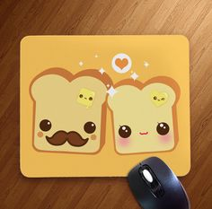 Kawaii toast couple - Mousepad - MP10 | ChibiBunny - Housewares on ArtFire