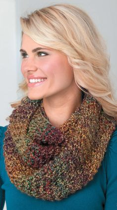 Loom knit multi-colored cowl!