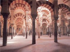La Mesquita, Cordoba, Spain.  A mosque with a cathedral inside of it.  Amazing Moorish architecture