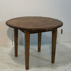 Small Round Table Handmade from Old Pine Roofing Timber (S5606C)