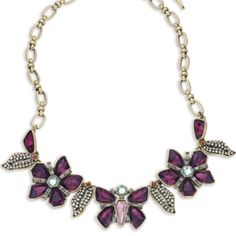 NWT Chloe and Isabel flower statement necklace Brand new with tags and in original box...gorgeous Chloe and Isabel papillon nocturne statement necklace with vibrant purple stones and marcasite style accents on a goldtone chain with adjustable clasp. This necklace is absolutely stunning and never been worn.  From a pet and smoke free home. ❌NO TRADES❌ Chloe + Isabel Jewelry Necklaces