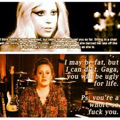Adele > Lady Gaga... This is bad but funny good for Adele !