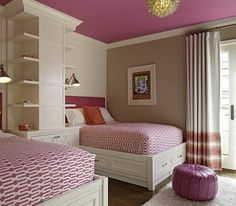 Shared Girls Bedroom Design Ideas with Purple Color Scheme and Two Single Beds