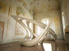 "Keeping a large fluid shaped sculpture in a Venetian villa.  Zaha Hadid ""Aura"", Villa Foscari, Venice, 2008."