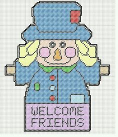 WELCOME FRIENDS SCARECROW by KATHY -- WALL HANGING