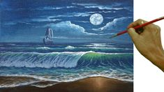Acrylic Landscape or Seascape Painting Tutorial Moonlight over Beach with Crashing Waves and Ship - YouTube
