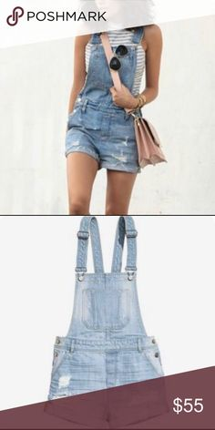 H&M distressed bib denim overalls (shorts) ⭐️ripped denim overall shorts ⭐️only worn once! Amazing condition ⭐️size 2 - prefect for country concerts / summer H&M Jeans Overalls
