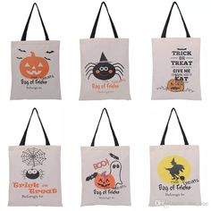 2016 Hot Sale Halloween Gift Bags Large Cotton Canvas Hand Bags Pumpkin Devil Spider Printed Halloween Candy Gift Bags Gift Sack Bags