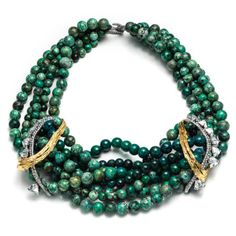 Olmeca Feathered Tress age Necklace with Chrysocolla | Alexis Bittar