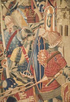 **Detalle de los Tapices de Pastrana (S.XV). Encargo del rey Alfonso V de Portugal, tejido en Tournai (Bélgica). Tapiz flamenco de estilo gótico. -56b