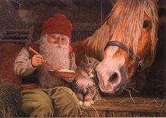 Swedish-art-Jan-Bergerlind-Gnome-Tomte-Horse-KittenChristmas-Cards-Bx-of-12-530