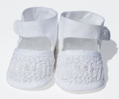Infant Baby Girls White Christening Smocked Shoes--Carousel Wear