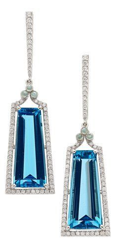 Estate Jewelry:Earrings, Blue Topaz, Diamond, Moonstone, White Gold Earrings, Eli F...