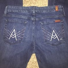 7 For All Man Kind A Pocket In like new condition! No tears, stains, or holes!!  the pockets have bling!! if I don't get what asking I will keep till I lose the baby weight and wear these sexy babies!  just hate to see them sit!  7 for all Mankind Jeans