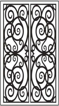 scrolled-wrought-iron window insert faux iron pattern dd3