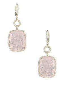Courtney Lauren Diamond Open Circle & Rose Quartz Drop Earrings