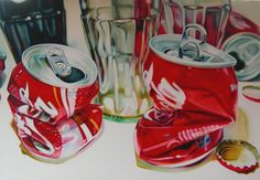kate brinkworth - coke cans - oil on canvas  110cm x 80cm