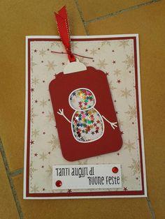 Shaker card natalizia, fustelle e timbro de La coppia creativa