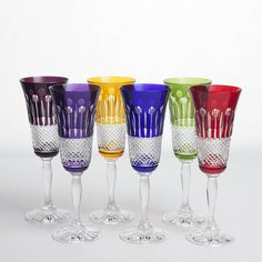 set of six rainbow crystal champagne flutes by gurasu - fine crystal   notonthehighstreet.com