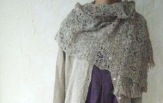 LINNET Linen shawl hand-crocheted No1 ORG Flax
