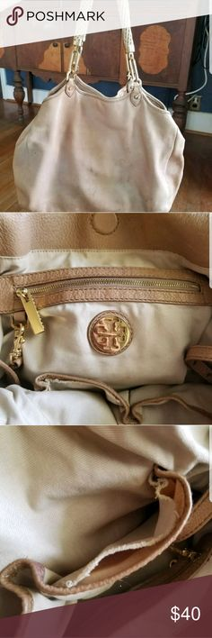 Tory Burch leather satchel My go to bag for many years! Tan leather Tory Burch bag. It is very used and has some staining and inner pocket tears so please see all photos. She still has some life left in her! Tory Burch Bags Satchels
