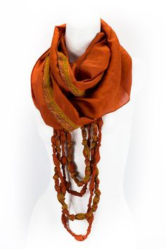 Eternal Beaded Sari Scarf (Warm Sunsets) – Village Artisan