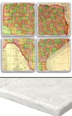 """Texas Map Coaster Set    An impressive collection of marble coasters featuring a beautifully colored map of Texas.   Each Texas coaster measures 4"""" x 4"""", and is constructed of high quality, Botticino tumbled marble.  A perfect gift for weddings, anniversaries, business gifts and any other special event in your life.  Best of all, these Texas coasters are artfully constructed in the USA!     Botticino Tumbled Marble  Each Tile Measures 4""""x4"""""""