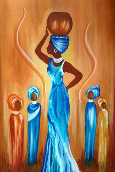 African Woman - Original oil painting on hardboard. Available directly from Artist Loraine Yaffe. Email lyaffe7@gmail.com