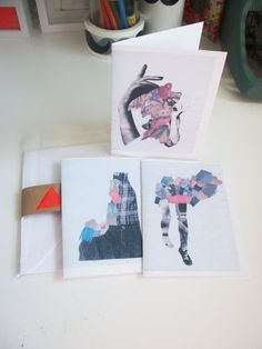 Collaged figures set of 3 blank notecards with by LaurelHowells, £7.50