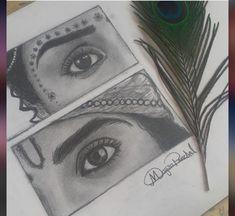 3d Art Drawing, Dark Art Drawings, Girly Drawings, Art Drawings Sketches Simple, Pencil Art Drawings, Radha Krishna Sketch, Krishna Drawing, Krishna Painting, Krishna Art