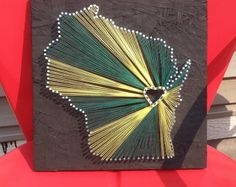 Green Bay WI String and Nail Art by PartTimeCanvassing on Etsy