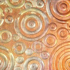 "Textured Copper Sheet Metal, Circles and Dots, 26 gauge, 6"" x 1.375"""