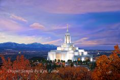 Three temples at sunset. The Draper Temple in the foreground, the Jordan River Temple in the distance to the right and the Oquirrh Mountain Temple in the distance to the left.