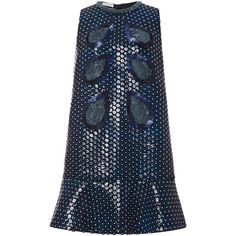 DELPOZO Mini A-Line Dress With Sequins ($10,850) ❤ liked on Polyvore featuring dresses, blue dress, snap dress, futuristic dress, blue a line dress and embroidered dress