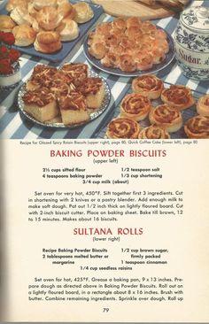 Vintage recipes, 1950s Baking Powder Biscuit Recipes.