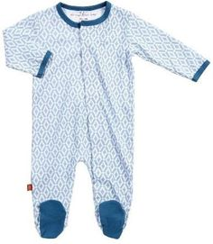 Magnificent Baby Infant Boys Morocco Magnetic Closure Blue Footie Pajamas