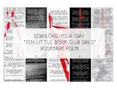"""FREE PRINTABLE """"TEN LITTLE BOOK CLUB GIRLS"""" POEM TO GO ALONG WITH AGATHA CHRISTIE'S BOOK, AND THEN THERE WERE NONE!!"""